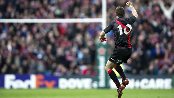 Edinburgh captain Greig Laidlaw celebrates following the Heineken Cup quarter-final victory against Toulouse