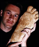 Chris Packham with Big Foot's foot