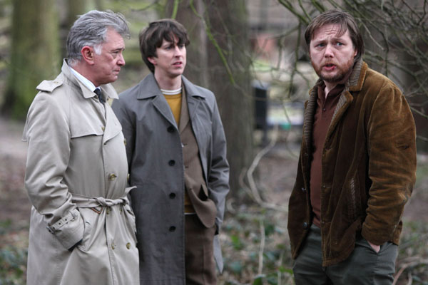 Inspector George Gently, played by Martin Shaw, and Detective Sergeant John Bacchus, played by Lee Ingleby, speak with Darren Paige, played by Shaun Dooley in the first episode of the new series.