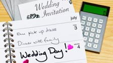 Wedding invitation, diary and calculator