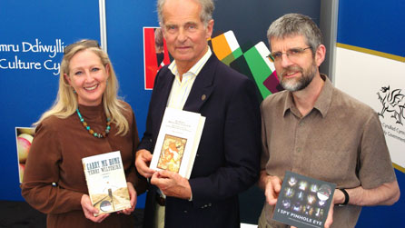 Photograph of the shortlisted authors Terri Wiltshire, Nikolai Tolstoy and Philip Gross © John Briggs