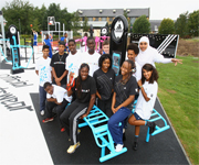 Christine Ohuruogu and some young people at the opening of the first adiZone