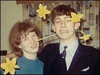 Couple with daffodils