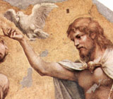 Jesus, depicted as a fair-skinned and long-haired man, holds a white dove indicative of the Holy Spirit