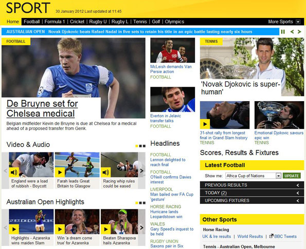 BBC Sport's new homepage as per the February 2012 relaunch