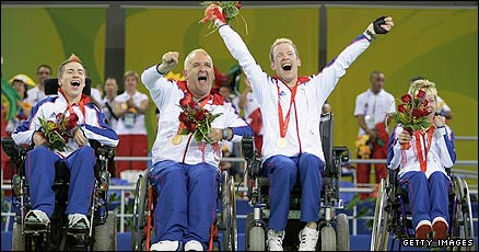 GB's boccia's team celebrate gold