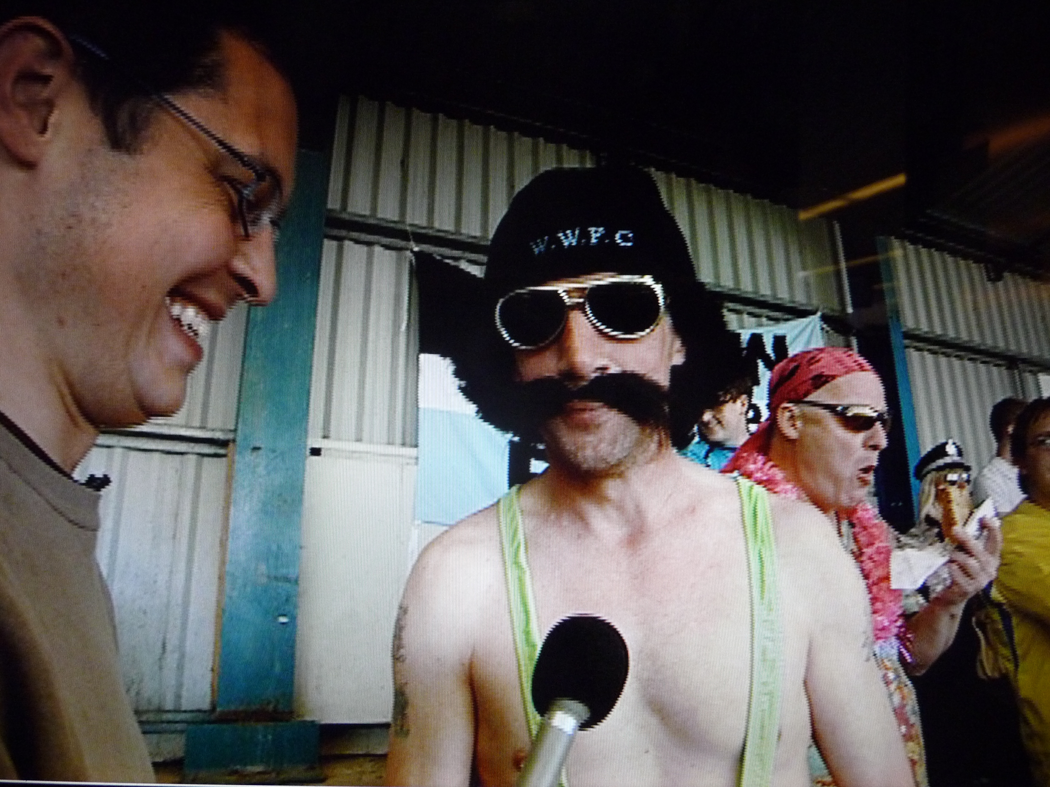 Late Kick Off reporter - Chris Slegg interviewing a Borat Look -a- like