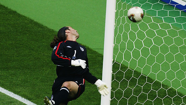 David Seaman fails to stop Ronaldinho's shot during the 2002 World Cup.