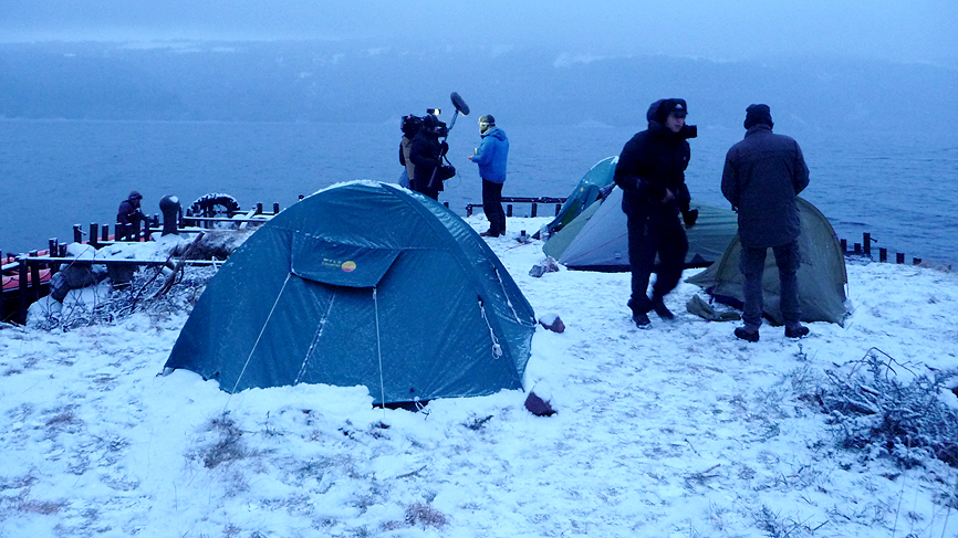 Fred and Dougie at their snowy campsite, night two, on the banks of Loch Ness.