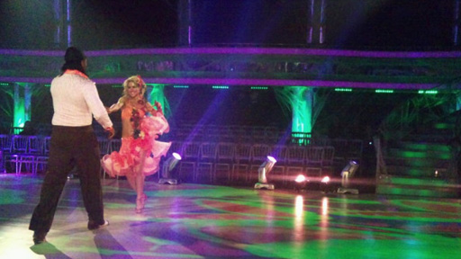 Audley Harrison and Natalie Lowe rehearsing