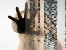 Naked woman holding her hand up to a DNA (deoxyribonucleic acid) autoradiogram