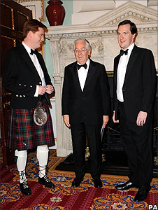 George Osborne, Mervyn King and Danny Alexander attend the Lord Mayor's Dinner to the Bankers and Merchants of the City of London