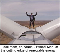 Ethical Man on top of a turbine