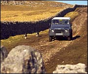 Yorkshire Dales farm track with Landrover