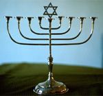 A menorah, the holy candelabrum that is seen as a symbol of Judaism.