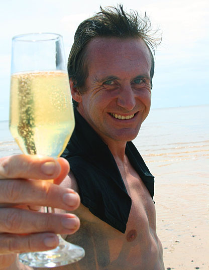 Bruce toasts his journey down the Amazon