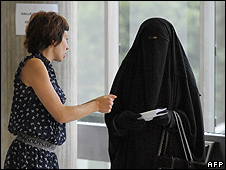 Woman in full-face veil in France - file pic