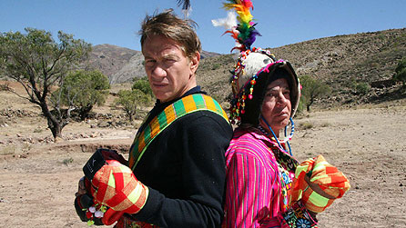 Michael Portillo posing with local Bolivian man as they prepare to take part in a Tinku (local festival), where they will engage in unarmed combat