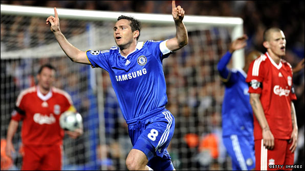 Frank Lampard scored twice as Chelsea won 7-5 on aggregate