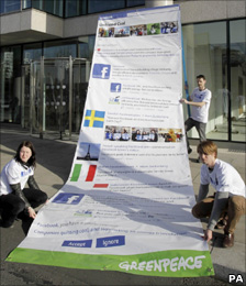 Greenpeace protest against Facebook in Dublin, Ireland