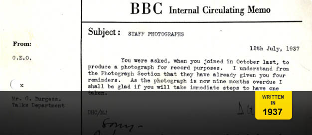 An internal memo about staff photographs.