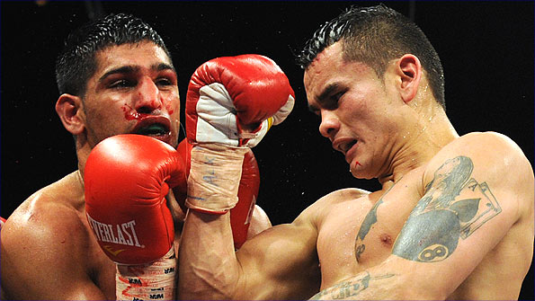 Amir Khan (left) and Marcos Maidana