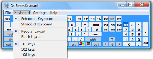 On-screen keyboard, showing drop-down menu