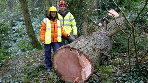 BBC Countryfile presenter, Julia Bradbury with the former tallest tree in Wales.