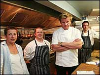 Gordon Ramsay in Maggie's kitchen.