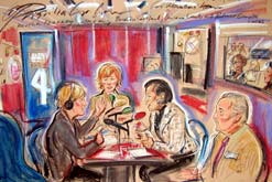 Image: Priscilla Coleman's sketch of the Woman's Hour studio (L-R: Martha Kearney, Christina Lamb, Baroness Scotland, Professor Grenville Lucas)
