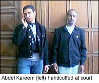 Abdel Kareem handcuffed at court