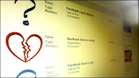 A photograph of a computer screen showing search results for 'facebook divorce' within Facebook