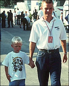 Jan Magnussen and his then four-year-old son Kevin at the 1997 Belgian Grand Prix