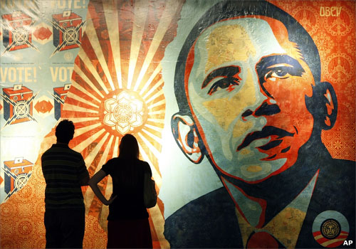 Mural of President Obama by artist Shepard Fairey