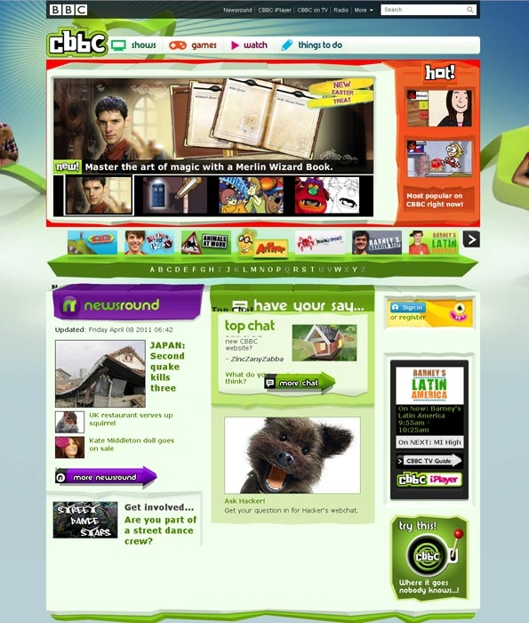 New CBBC home page