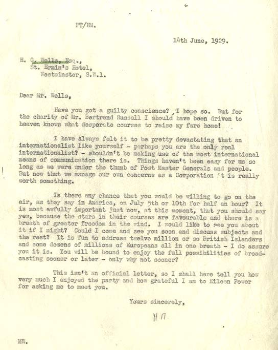 Letter to HG Wells from the BBC