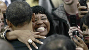 Obama and supporter in Cleveland
