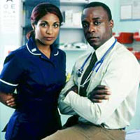 a woman dressed as a nurse and a man dressed as a doctor