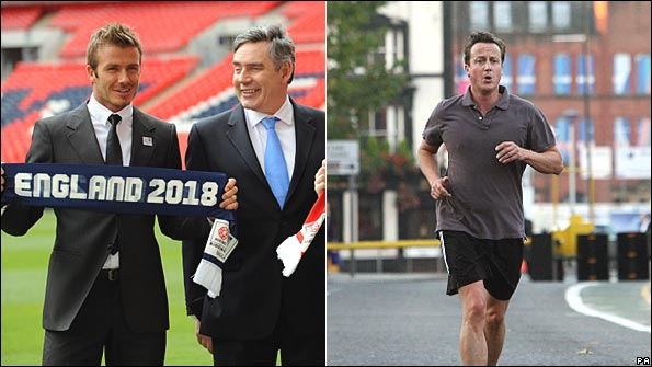 David Beckham with Gordon Brown, 2009; David Cameron jogging