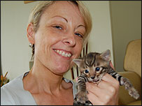Gaynor with a baby Toyger