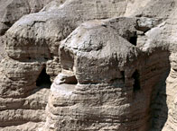 View of the Qumran Caves, where the Dead Sea Scrolls were discovered in 1947