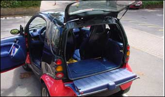 smart car with its doors open