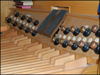 Foot pedals of the church organ
