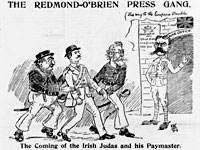 A satirical cartoon depicting Irish nationalist William O'Brien and leader of the Irish Parliamentary Party John Redmond delivering an Irish 'volunteer' to Lord Kitchener at the British War Office.
