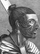 Engraving of a Maori by Sydney Parkinson