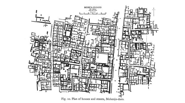 A plan showing streets and houses in the city of Mohenjo-daro. © Trustees of the British Museum