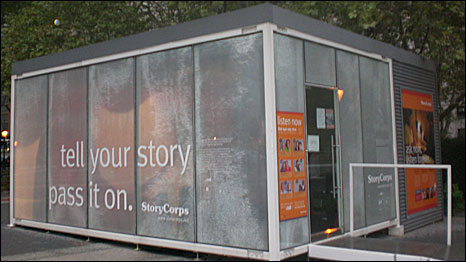 StoryCorps recording booth in Foley Square, New York