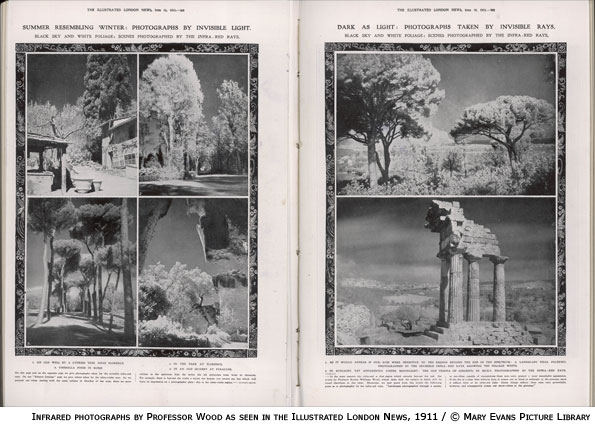 Infrared photographs by Professor Robert Williams Wood in the Illustrated London News, 1911