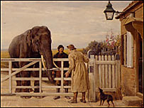 Painting showing elephant at toll gate (c) Manchester City Galleries
