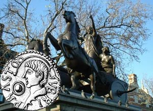 The famous statue of Boudica in her chariot on the Thames Embankment at Westminster, and a coin depicting her husband, Prasutagus (inset)
